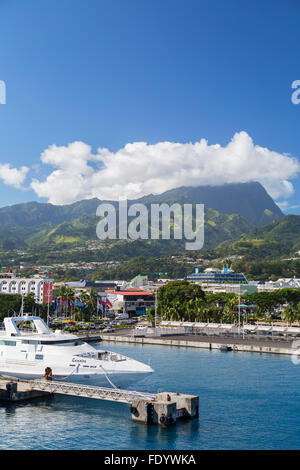 Boat in harbour, Pape'ete, Tahiti, French Polynesia - Stock Photo