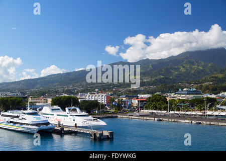 Boats in harbour, Pape'ete, Tahiti, French Polynesia - Stock Photo