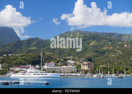 Yacht in harbour, Pape'ete, Tahiti, French Polynesia - Stock Photo