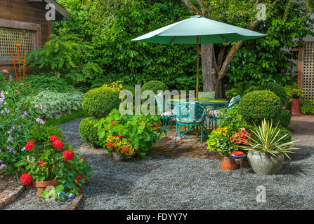 Perfect Vashon Maury Island, WA: Summer Patio Encircled With Summer Pots Of Red  Geraniums