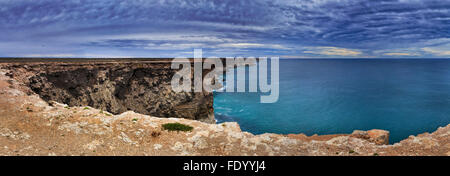 spectacular view from elevated lookout at South Australia nullarbor plain towards rugged coastline of australian - Stock Photo
