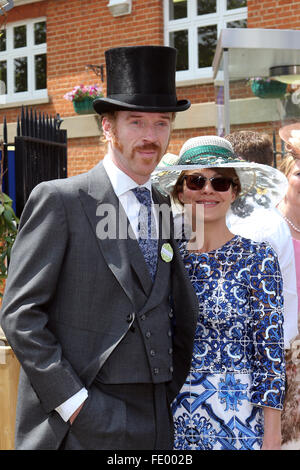 Ascot, United Kingdom, Damian Lewis, actor and his wife Helen McCrory - Stock Photo