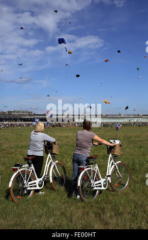 Berlin, Germany, people at the festival of giants kite on the Tempelhof Field - Stock Photo