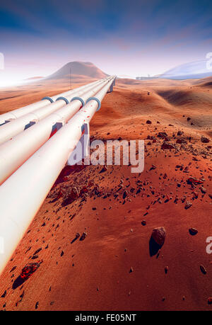 Searching for water on Mars, water exploration. Large pipelines, dry dunes, craters and rocks. Red Martian landscape - Stock Photo