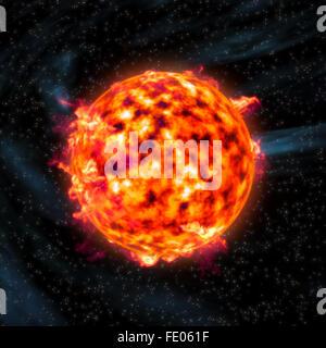 Sun star prominences burning