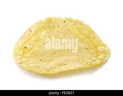 Single potato chip on white background, isolated - Stock Photo