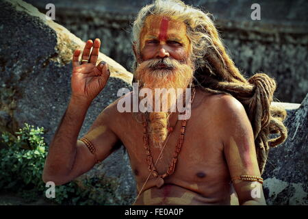 Sadhu or Holy Man in Pashupatinath temple in Kathmandu Valley, Nepal - Stock Photo