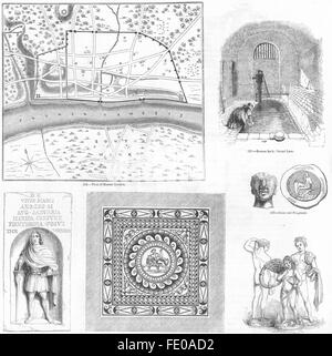 Old Roman Bath, Strand Lane. London, Uk, 19th Century Engraving ...
