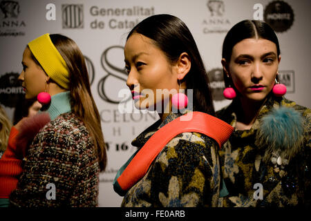 Barcelona, Spain. 3rd February, 2016. Models dressed in Naulover design are seen moments before going to catwalk - Stock Photo