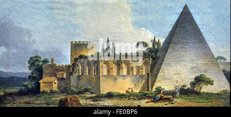 The Pyramid of Cestius in Rome in 1774 Jean Jacques Francois Barbier France French - Stock Photo