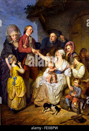 The Alms or Unhappy Family 1777 Pierre Alexandre Wille France French - Stock Photo