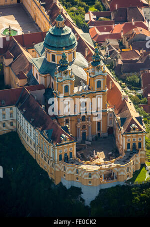 Aerial view, Benedictine Monastery, Unesco World Heritage Site, monastery complex of the Austrian Baroque, Wachau, - Stock Photo