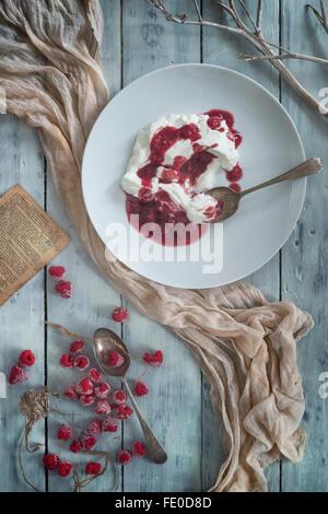 Raspberries and raspberry coulis with organic yogurt. - Stock Photo