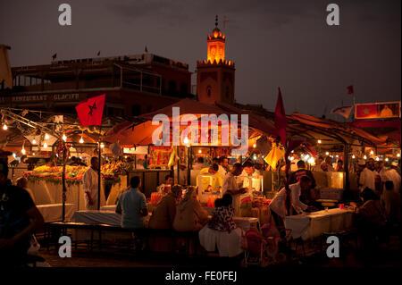 Djemaa el-Fna, main square, Marrakesh, Morocco - Stock Photo
