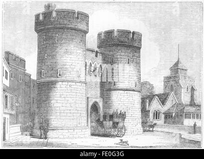 KENT: West Gate & Holy Cross Church, Canterbury, antique print 1845 - Stock Photo