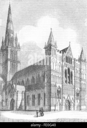 WILTS: NW Salisbury Cathedral, antique print 1845 - Stock Photo