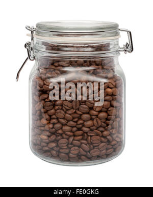 Coffee Beans in a Glass Canister with a Metal Clamp. The image is a cut out, isolated on a white background. - Stock Photo