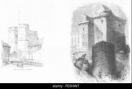 KENT: West gate, Canterbury; Borthwick castle, antique print 1845 - Stock Photo