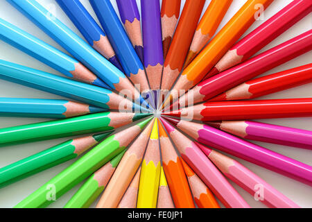 Macro of colored pencils in a circle. - Stock Photo