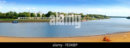 Veliky Novgorod, Russia View to the Yaroslavs Court from the opposite bank of Volkhov river. - Stock Photo