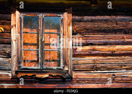 Window of old cottage log house - Stock Photo