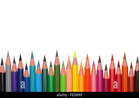 Colored pencils, isolated on the white background. - Stock Photo