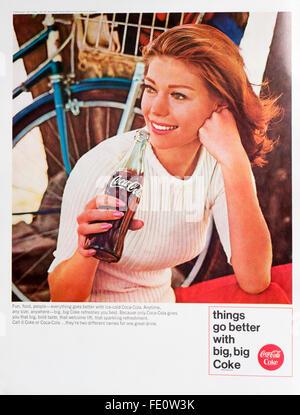 1960s magazine advertisement advertising Coca-Cola. - Stock Photo