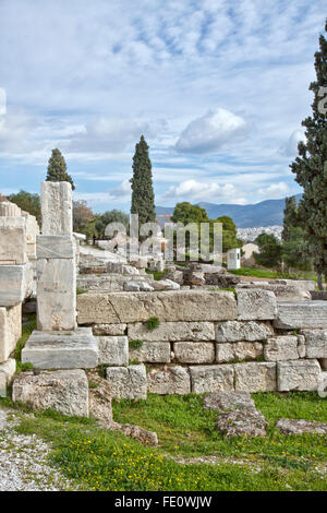 Remains of walls and columns  located on the southwest slope of the Acropolis of Athens. - Stock Photo
