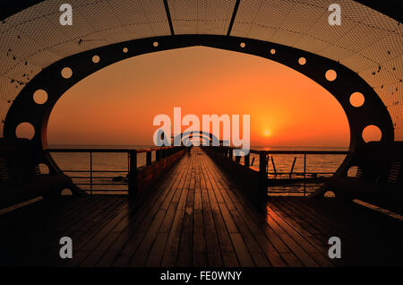 Sunrise, pier, Kellenhusen, Baltic Sea, Schleswig-Holstein, Germany - Stock Photo