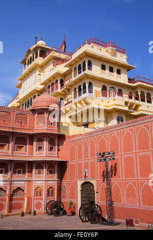 Chandra Mahal in Jaipur City Palace, Rajasthan, India. Palace was the seat of the Maharaja of Jaipur, the head of - Stock Photo