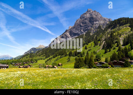 Panorama view of the Alps and Bluemlisalp on the hiking path near Kandersteg on Bernese Oberland in Switzerland - Stock Photo