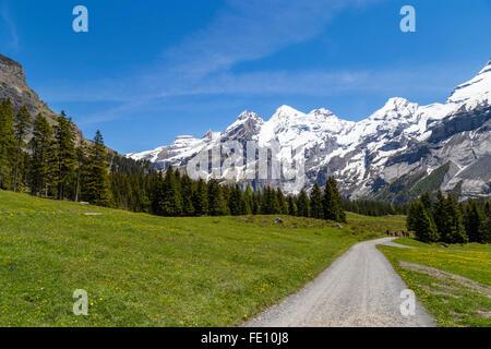 Amazing view of Swiss Alps and meadows near Oeschinensee (Oeschinen lake), on Bernese Oberland, Switzerland