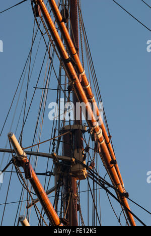 Sail rigging on RRS Discovery, Discovery Point, Dundee, Scotland, UK. - Stock Photo