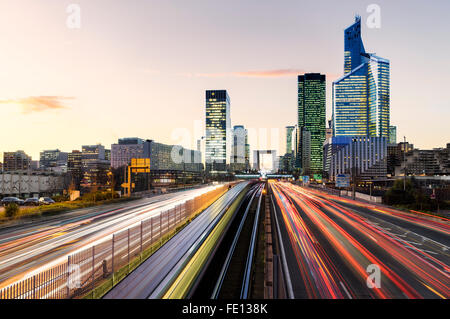 Traffic in La Défense, Paris, France - Stock Photo