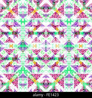 Digital collage technique modern refined ornate decorative abstract motif seamless check pattern mosaic design in - Stock Photo