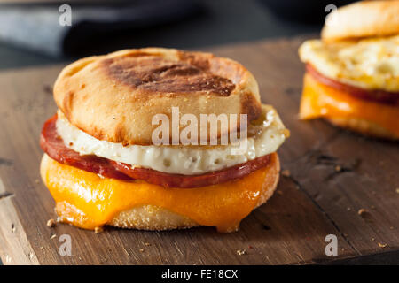 Homemade Breakfast Egg Sandwich with Cheese on an English Muffin - Stock Photo