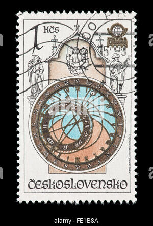 Postage stamp from Czechoslovakia depicting an astronomical clock - Stock Photo