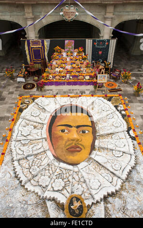 Giant sand painting and altar for Day of the Dead honoring the Mexican artist Frida Kahlo, Governor's Palace, Oaxaca, - Stock Photo