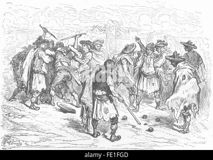 SPAIN: A quarrel at the game of ball, Valencia, antique print 1881 - Stock Photo