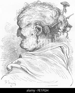 SPAIN: An old woman of Valencia, antique print 1881 - Stock Photo