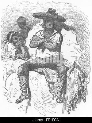 SPAIN: Boatman of the Port of Valencia, antique print 1881 - Stock Photo