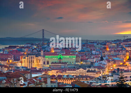 Lisbon. Image of Lisbon, Portugal during twilight blue hour. - Stock Photo