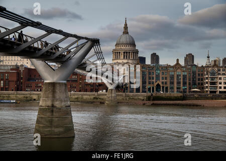 St. Pauls Cathedral and the Millennium Bridge - Stock Photo