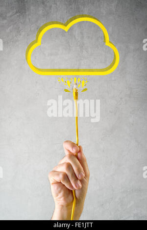 Male hand with LAN cable connected to cloud service, internet technology cloud computing concept. - Stock Photo