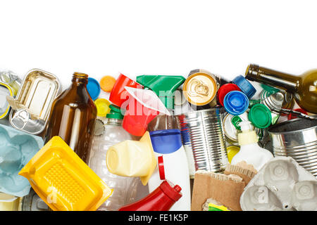 A selection of garbage for recycling. Segregated metal, plastic, paper and glass. Empty space for text - Stock Photo
