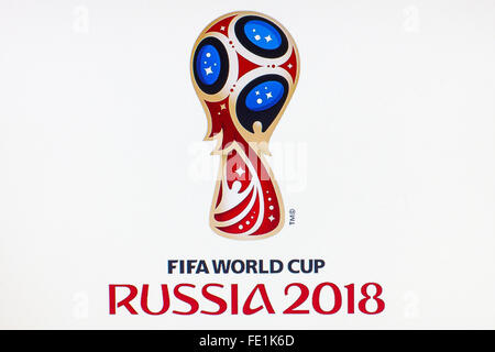 GDANSK, POLAND - NOVEMBER 14, 2015. Official logo of the football world championship in Russia on computer screen. - Stock Photo