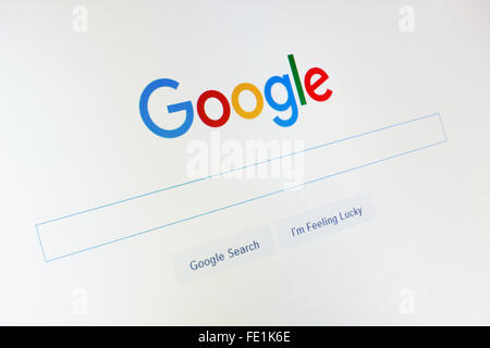 GDANSK, POLAND - NOVEMBER 14, 2015. Google.com homepage and cursor on the screen. Editorial use only - Stock Photo
