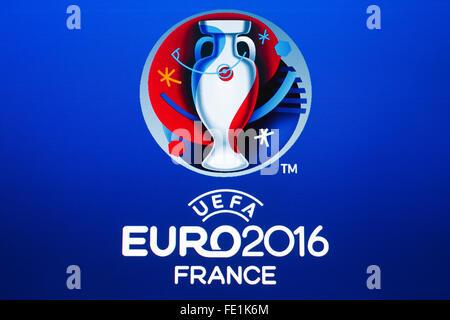 GDANSK, POLAND - NOVEMBER 20, 2015. Logo of the 2016 UEFA European Championship in France on computer screen - Stock Photo