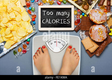 Unhealthy diet - overweight. Feet on bathroom scale - Stock Photo