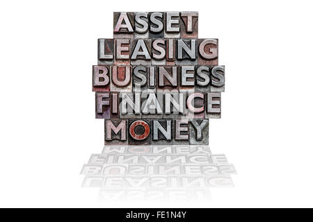 The words ASSET, LEASING, BUSINESS, FINANCE and MONEY in a stack made from old metal letterpress on a white background. - Stock Photo